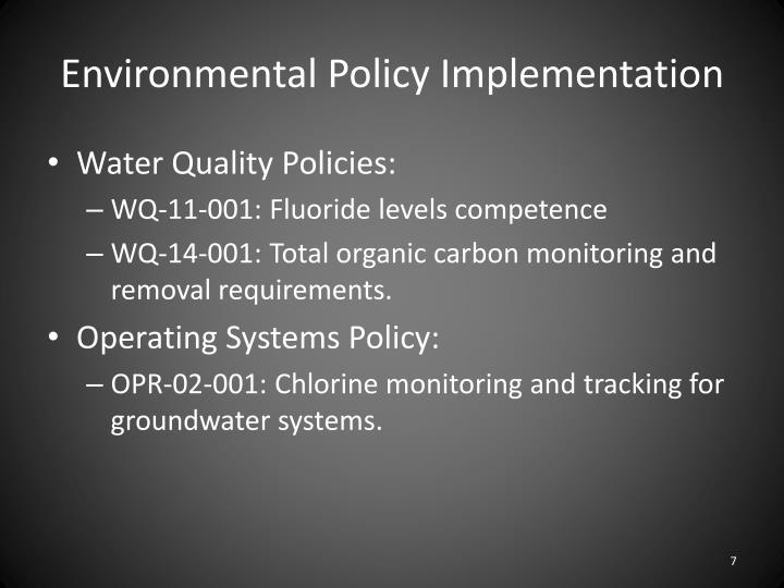 Environmental Policy Implementation