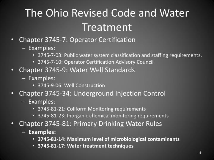The Ohio Revised Code and Water Treatment