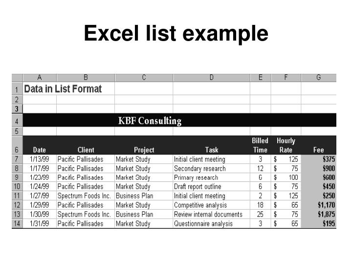 Excel list example