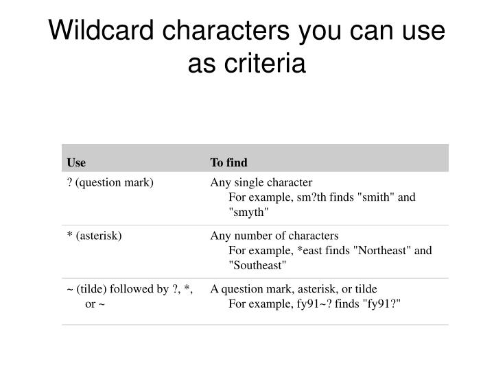 Wildcard characters you can use as criteria
