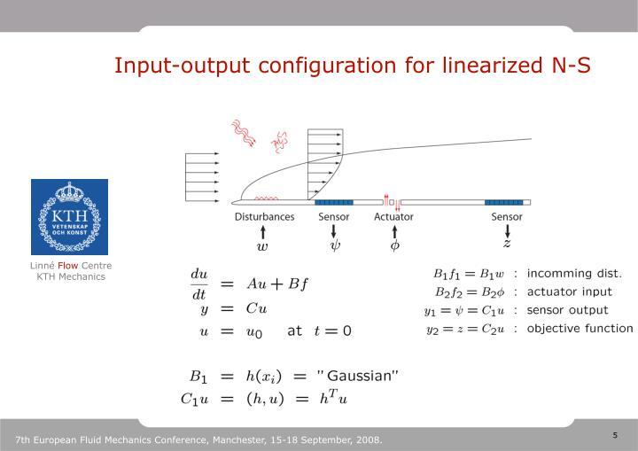 Input-output configuration for linearized N-S