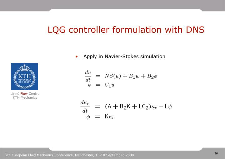 LQG controller formulation with DNS