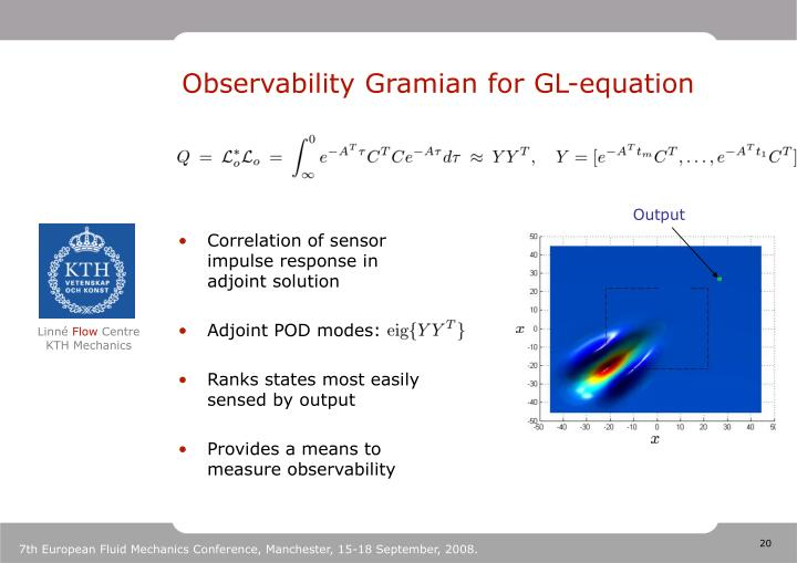 Observability Gramian for GL-equation
