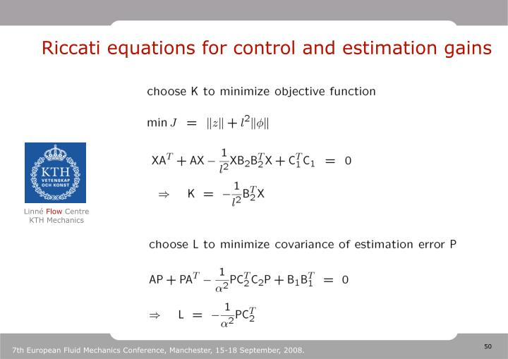 Riccati equations for control and estimation gains