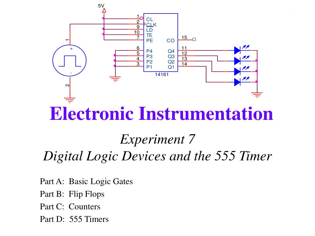 Ppt Experiment 7 Digital Logic Devices And The 555 Timer Monostable One Shot Trigger Electrical Engineering N