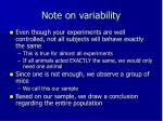 note on variability