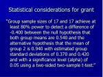 statistical considerations for grant