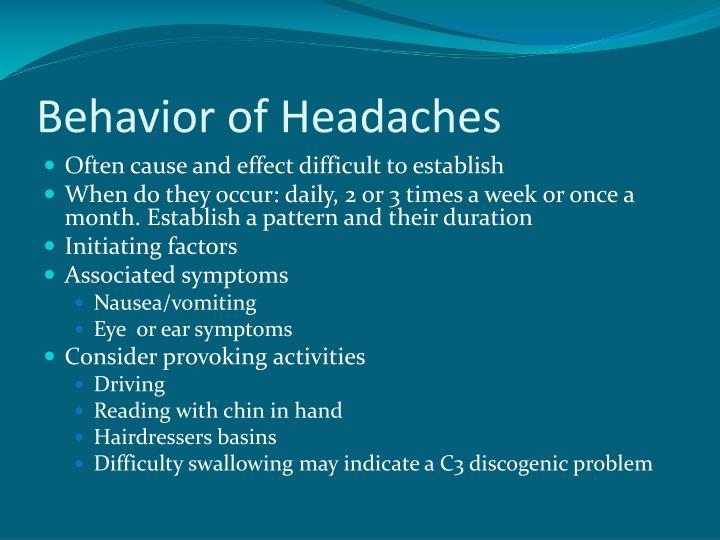 Behavior of Headaches