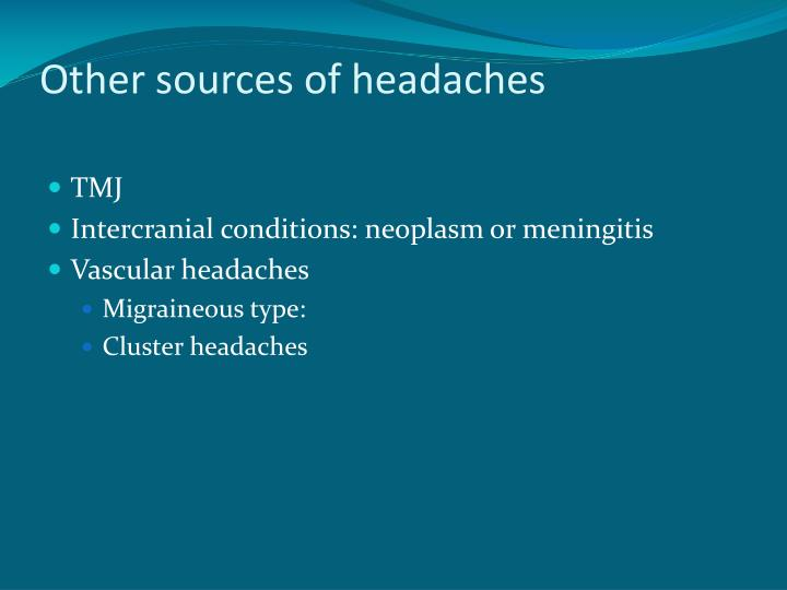 Other sources of headaches