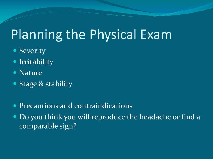 Planning the Physical Exam