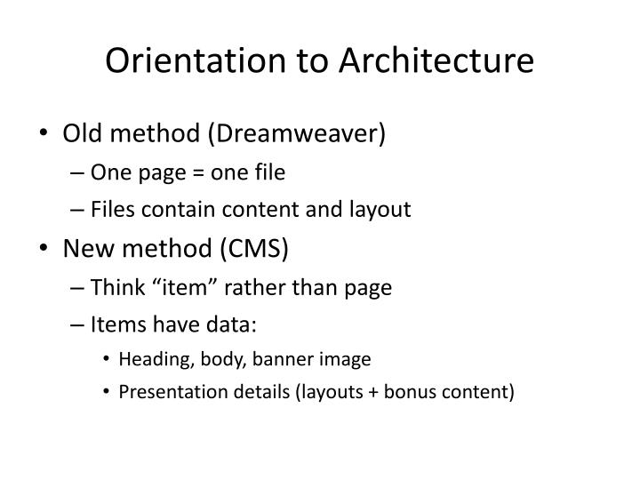 Orientation to Architecture