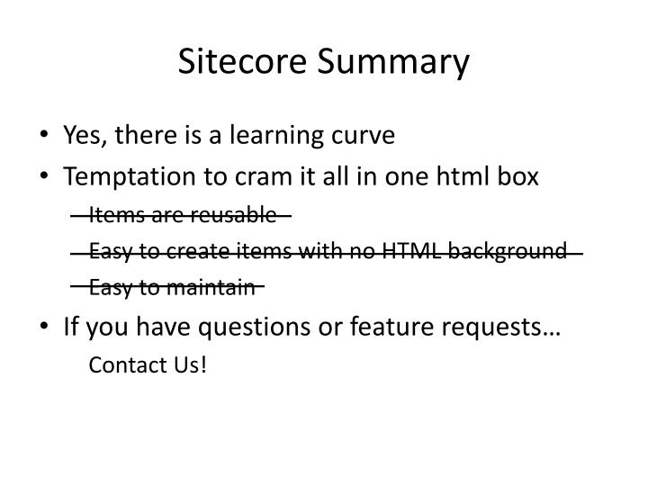 Sitecore Summary