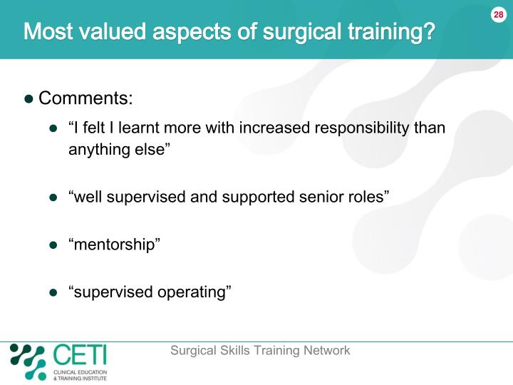 Most valued aspects of surgical training?