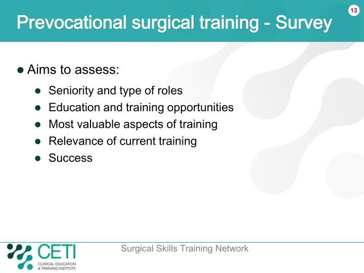 Prevocational surgical training - Survey