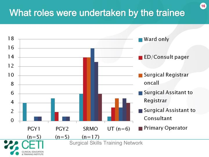 What roles were undertaken by the trainee