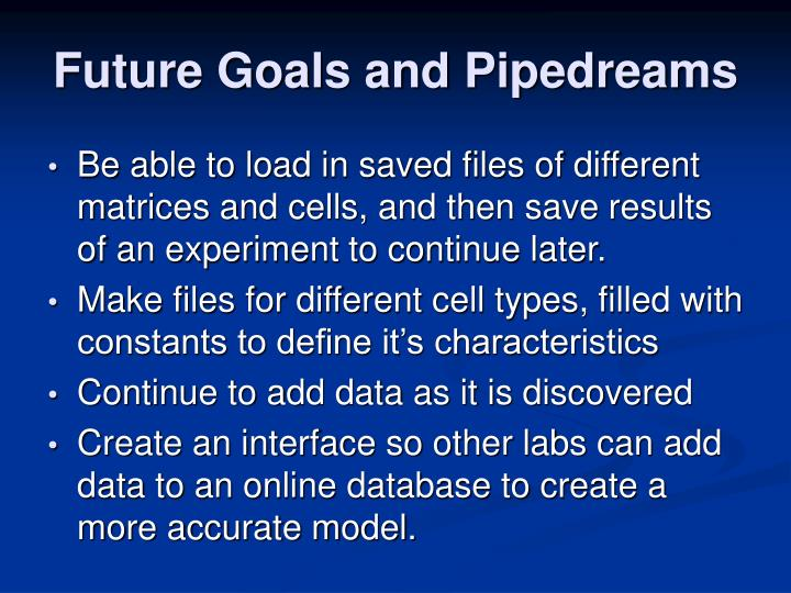 Future Goals and Pipedreams
