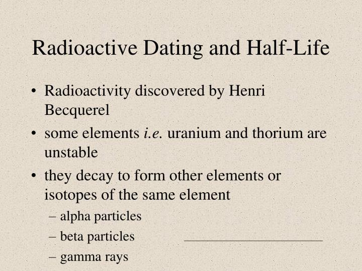 Radioactive dating half life definition