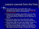 lessons learned from the fires