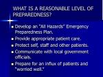 what is a reasonable level of preparedness