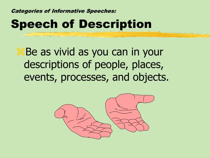 description speech Students benefit from a wide variety of speech and debate events to create standards for national competition, the national speech & debate association has defined a number of main events, described below.