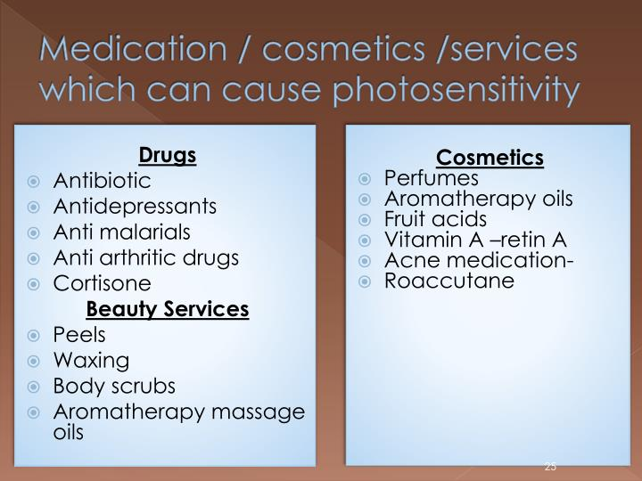 Medication / cosmetics /services which can cause photosensitivity