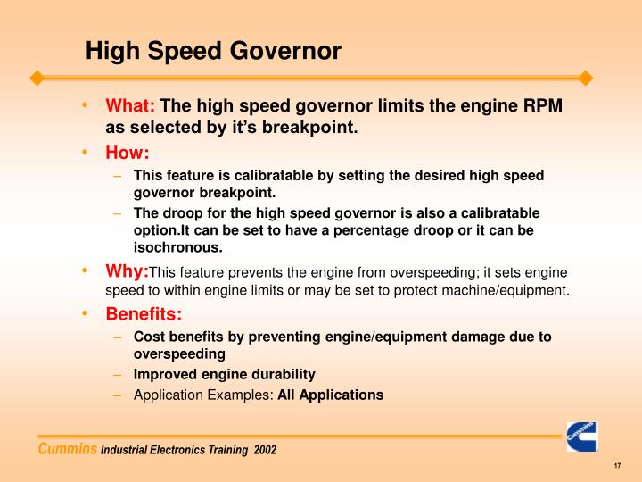 High Speed Governor