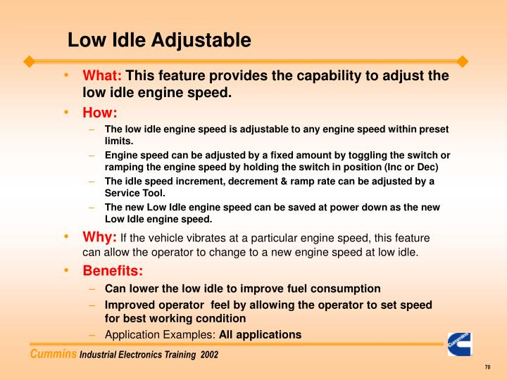 Low Idle Adjustable
