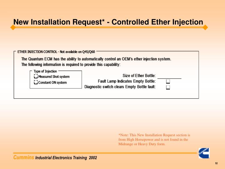 New Installation Request* - Controlled Ether Injection