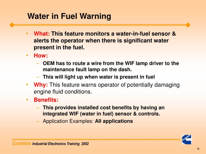 Water in Fuel Warning