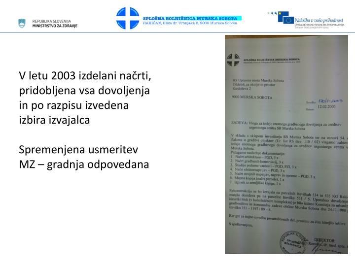 V letu 2003 izdelani načrti, pridobljena vsa dovoljenja in po razpisu izvedena izbira izvajalca
