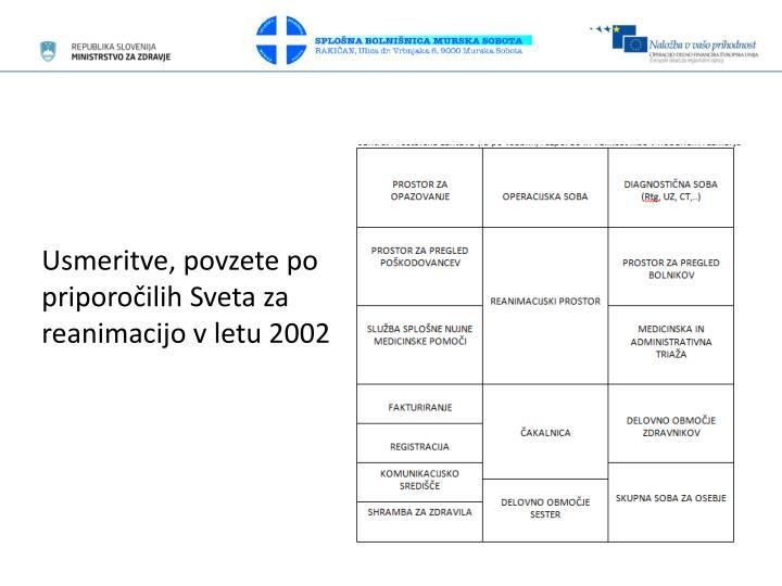 Usmeritve, povzete po priporočilih Sveta za reanimacijo v letu 2002