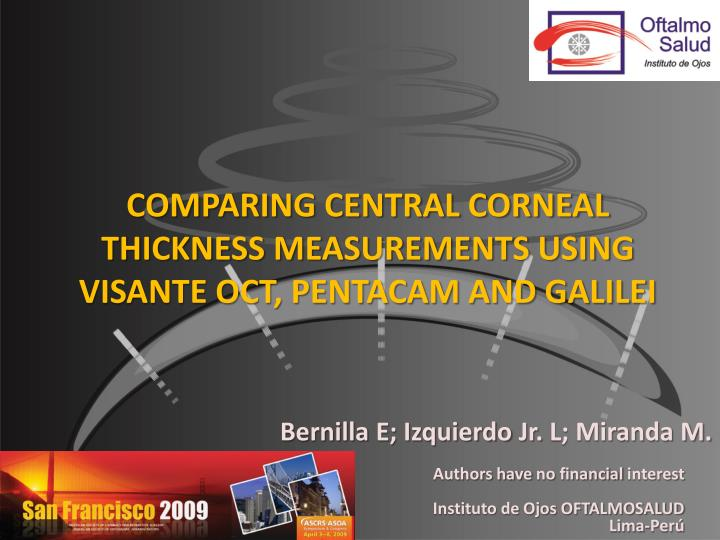 comparing central corneal thickness measurements using visante oct pentacam and galilei n.
