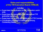roles and responsibilities of the tir executive board tirexb1