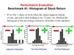 performance evaluation benchmark 1 histogram of stock return