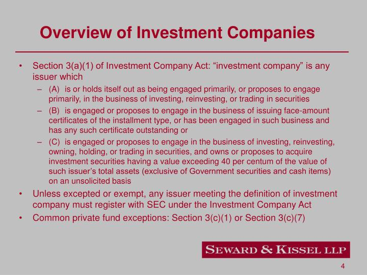 Overview of Investment Companies