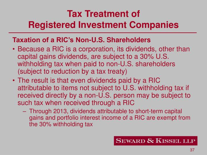 Tax Treatment of
