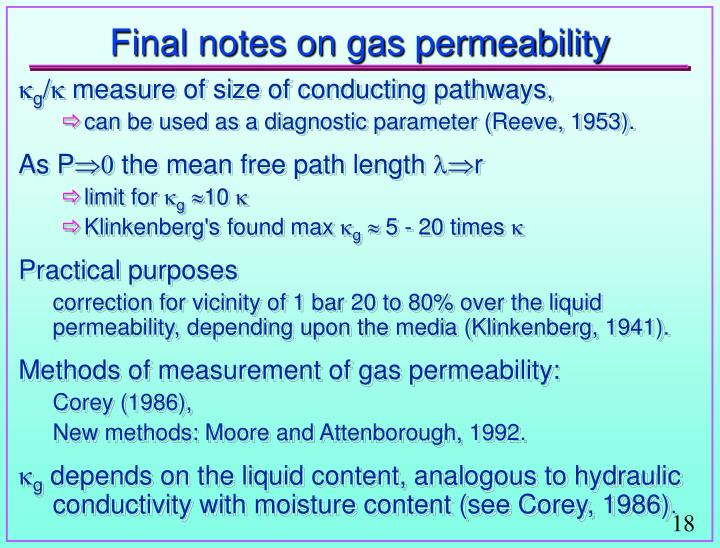 Final notes on gas permeability