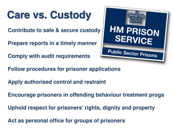 Contribute to safe & secure custody