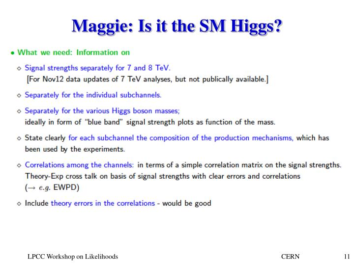 Maggie: Is it the SM Higgs?