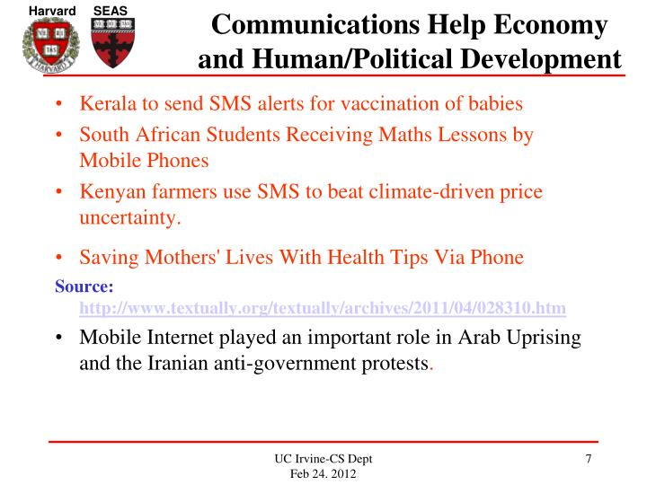 Communications Help Economy and Human/Political Development