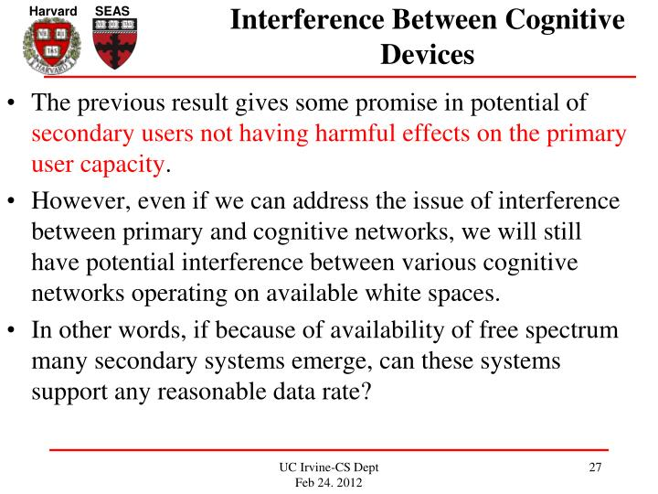 Interference Between Cognitive Devices