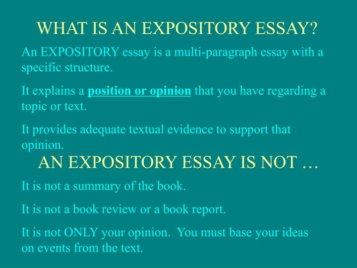 WHAT IS AN EXPOSITORY ESSAY?
