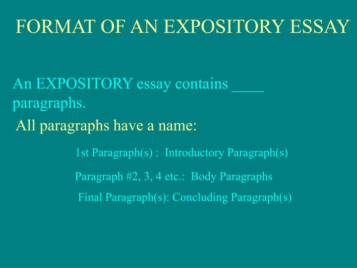 FORMAT OF AN EXPOSITORY ESSAY
