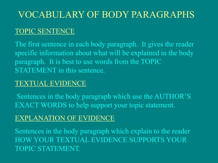 VOCABULARY OF BODY PARAGRAPHS