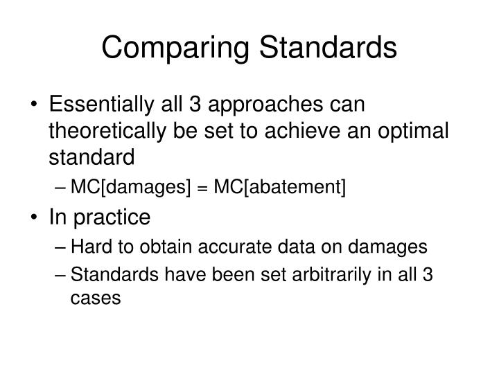 Comparing Standards