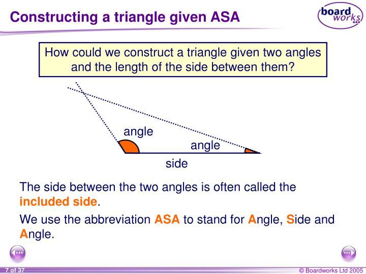 Constructing a triangle given ASA