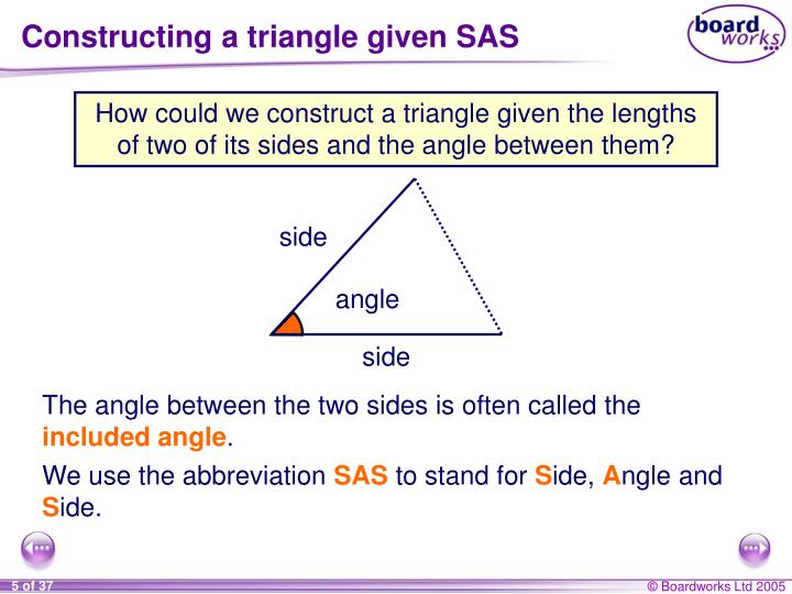 Constructing a triangle given SAS
