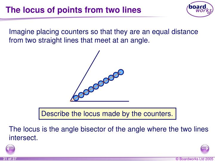 The locus of points from two lines