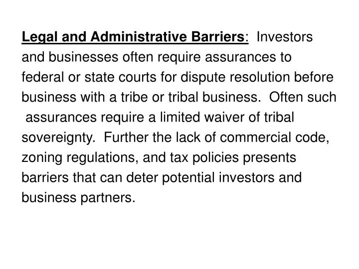 Legal and Administrative Barriers