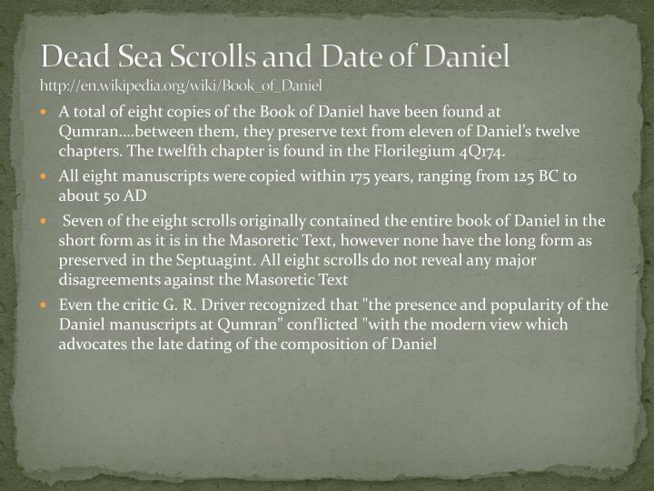 dead sea scrolls daniel dating